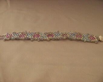 Flower Motif Beaded Bracelet with Button Closure