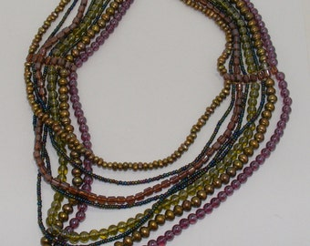 Vintage Multicolored Multistrand Statement Necklace