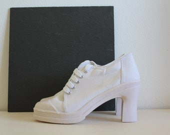 SALE 50 OFF High Heel Sneakers Lace Ups 90s Boots Size 39EU 6UK 8.5US Pearl White Pumps Canvas Spring Summer