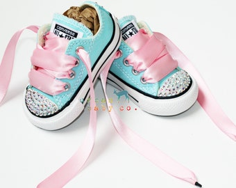 Infant, Toddler Low Top Baby Girl Aqua Turquoise Converse® All Star® Chuck Taylor's® With Pink Ribbon Laces & Swarovski® Crystal Rhinestones