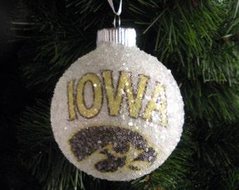 University of Iowa glass glitter ornament