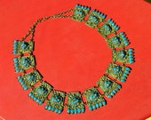 40's 50's Antique Nepal Buddhist Amulet face Mask Ethnic Gypsy Goddess ceremonial Brass Turquoise glass statement choker necklace