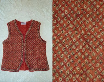 Vtg 70's 80's INDIA Boho Hippie Gypsy Festival NWOT Deadstock Rust Ethnic Block print Quilted Cotton gauze top waistcoat crop Vest XS//S//M