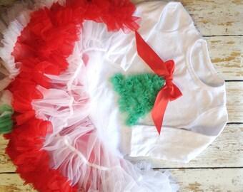 SALE - Christmas Dress, Baby Girl Dress, Chiffon Ruffle Dress, Christmas Petti Dress