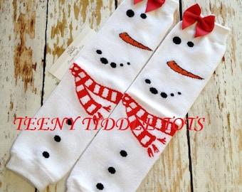 Snowman Leg Warmers - Christmas Leg Warmers - White leg warmers