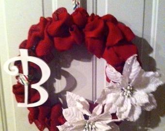 Monogram Burlap Winter Wreath