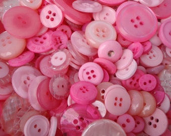 Pink Sewing Button Mix 5 to 30mm