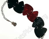 Black & Red Pearl Genuine Guitar Pick Bracelet With Guitar Charm