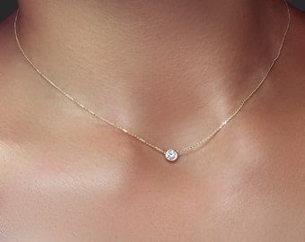 Delicate Solitaire Diamond Necklace .20 ct, 14k Gold