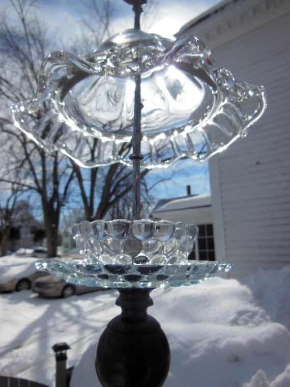 Hanging glass bird feeder fire king bubble bowl sapphire blue for Hanging fire bowl