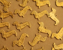 6 pc. Raw Brass Dachshund Charms: 17mm by 12mm - made in USA | RB-409