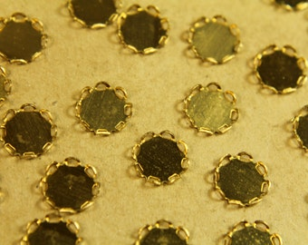 16 pc. Raw Brass Lace Edge Setting: 10mm in diameter - made in USA | RB-425