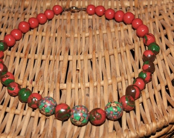 Earthy tones, handmade beads necklace