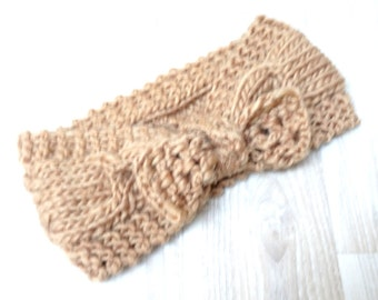 Beige Knitted Headband knot knotted Knit Crochet Ivory winter Woman Fashion Accessory hat chunky handmade girl teenager ski earwarmer