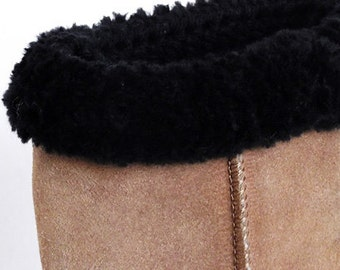 Boot Cuffs Faux Fur Trimmed Black Crochet Handmade Several Sizes Available