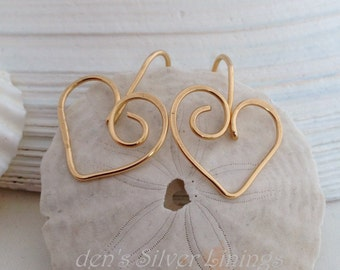 Handcrafted Gold Heart Earrings, Sweetheart or Bridesmaid Gift, Artisan Hammered 14K Gold  Filled Jewelry