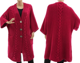 Oversized hand knitted sweater coat alpaca mix in dark pink, cabled knitted sweater coat in magenta for medium to plus sizes, US size 10-18
