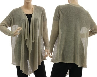 Boho knitted linen sweater cardi in natural, full front open linen sweater, lagenlook wrap for medium to large size women M-L, US size 10-16