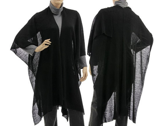 Large boho knitted linen poncho cape wrap in black /  lagenlook for small to plus size women, one size fits all - US size 6 up to 22