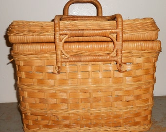 Vintage Basket, Picnic Basket, Sewing Basket, Wicker, Large, Square / Rectangle, Storage Basket