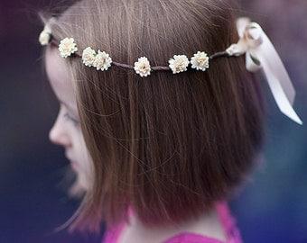 Cream Aster Boho Flower Crown ... WEDDINGS, FLOWERGIRLS, BRIDESMAIDS