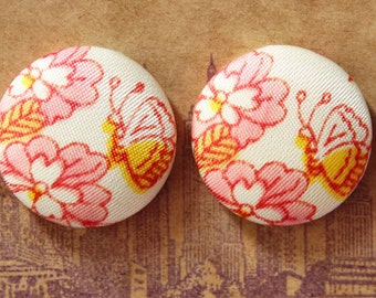 Fabric Covered Button Earring / Butterflies / Pink / Wholesale Jewelry / Hypoallergenic Studs / Bridesmaid Gifts / Handmade / Bridal Shower