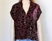 vntg 20s plum velvet pullover top / slouch / dolman
