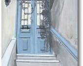 Wall Art Print Greece Greek Isles Europe Travel Welcome Home Door  Armchair Traveler  Housewarming Greek Gifts Mediterranean Blue