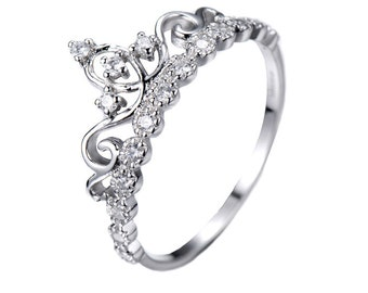 Dainty 925 Sterling Silver Crown Ring / Princess Ring - AZDBR5456-DN