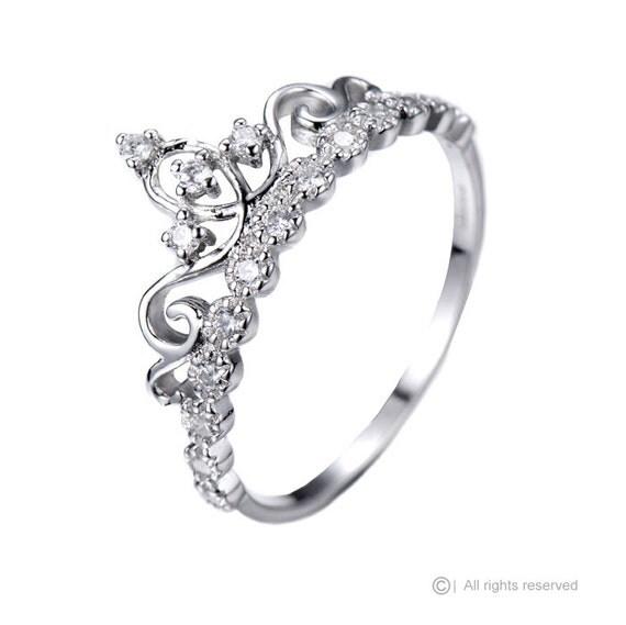 dainty 925 sterling silver crown ring princess ring. Black Bedroom Furniture Sets. Home Design Ideas