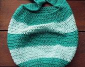 crochet striped tote in teal/aqua sparkle