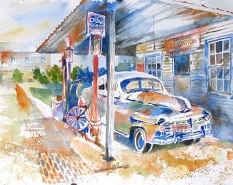 "Old Car Print, Home Wall Decor, Original Painting Limited Edition PRINT of Antique Car and Gas Station  8""X11"" by Kristin Glaze van Lieshout"