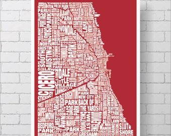 Chicago Neighborhoods Map Print - Custom Chicago Typography Map with Landmarks, Various Colors, Map Art Print Poster