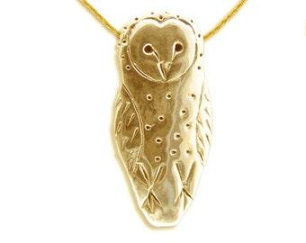 14K Gold Barn Owl Pendant
