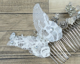 Lace Butterfly Bridal Comb, Bridal White Silver Floral hair comb, Wedding hair accessories, Bridal Headpieces, crystal comb bridal