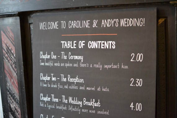 Wedding Order Of The Day: Chalkboard Wedding Timings Sign Order Of By