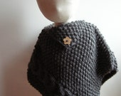 Baby poncho -Wool & Alpaca - Dark grey - 3/6 mois - other sizes and colours made to order - free shipping worldwide