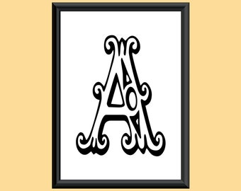 Typography DIGITAL PRINT Monogram Initial Wall Art Tropicana Letter A 5x7
