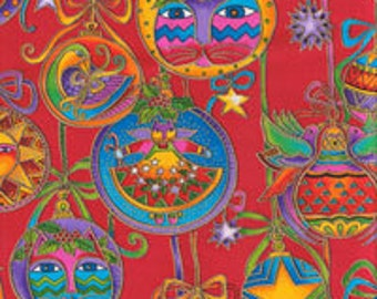 SCRAP 11.5 x 44 in of Laurel Burch Bountiful Feline Fabric on Pretty Christmas RED Background Retired Out of Print