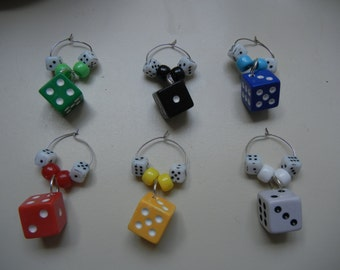 Colored Dice Wine Charms / Glass Identifiers  (set of 6)