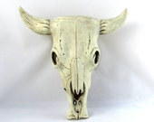 Ceramic Cow Skull -10 inches-hand made, indoor or outdoor