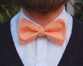Peach Clip-On Bow Tie - Adult Size Pre-Tied Bow Tie with Vintage Fabric.