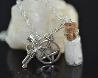 Salt and Burn Necklace, Pentagram, Colt gun, Supernatural, Protection from Demons