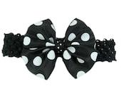 Black and White Polka Dot Bow Headband, Baby Head Band, Hair Bow, Baby Hairband, Baby Hairbow Headband, Shower Gift