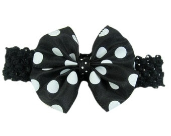 Black and White Polka Dot Bow Headband, Baby Head Band, Hair Bow, Baby Hairband, Baby Hairbow Headband, Shower Gift