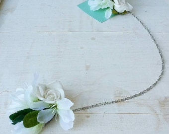 Goddess headpiece - silk flowers with chain on hair extension clips
