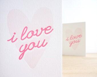 I Love You – Letterpress Valentine Card
