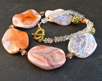 Big Stone Necklace, Statement Necklace, Big Fire Agate, Orange Stones, Big Bold Chunky, Crystal, Antique Gold, Tribal, Gift for Her   857