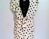 SPRING CLEAN Vintage Dress- 90s Tie Front Black and White Geo Print Dress