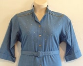 SPRING CLEAN Vintage Dress- 70s Denim Dress with Gold Studs and Belt